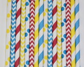 50 Circus Carnival  Paper Straw Mix  PAPER STRAWS birthday party bridal shower event cake pop sticks Bonus diy straws flag