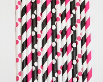 50 Barbie Paper Straw Mix  PAPER STRAWS birthday party bridal shower event cake pop sticks Bonus diy straws flag