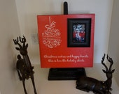 Personalized Family Name Christmas Holiday Red plaque board, White Ornament, black Photo Frame on wood Gift 16x16. Xmas Home Decor.