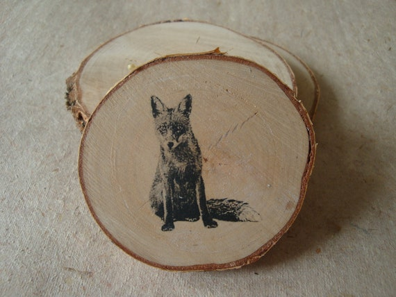Fox, Transfer Printed onto Silver Birch Wood Slice.