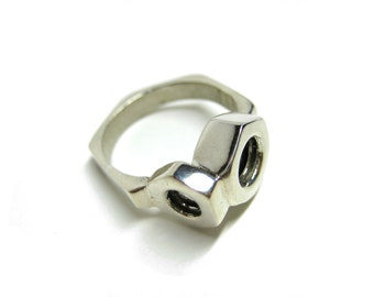 Sterling Silver Hex Nut Ring for Men and Women. Industrial Jewelry. Handmade Hardware Jewelry. 3 HEX Nuts Ring.
