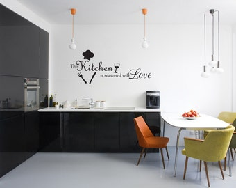 This Kitchen Is Seasoned With Love Vinyl Wall Decal Quotes Home Sticker Decor (J189)