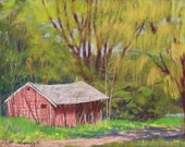 """Original Pastel Landscape Painting - """"The Old Marina"""" by Colette Savage"""