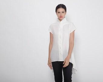 Plus Size Clothing, Petite Dress, White Shirt, Tunic Top, Shirt Dress, Asymmetric Tunic, Oversize Top, White Blouse, Kimono Top