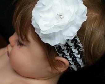 White Rhinestone Flower Zebra Headband. Zebra Crochet Headband. Baby Headband. Infant Headband.