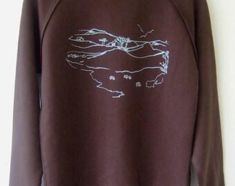 SALE Moorland- Mens dark brown sweatshirt  landscape print