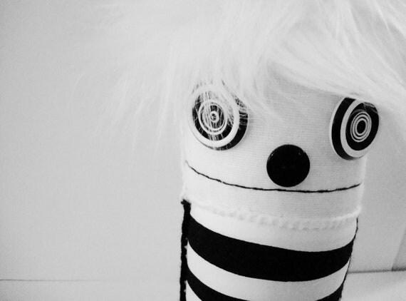 SALE Black and White Stripe Plush Doll - Ooak polkadottydoll BEAKER