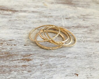 Special offer- gold ring, Stacking rings, set of gold rings, 5 gold rings, knuckle rings, thin ring, hammered ring, tiny ring -581