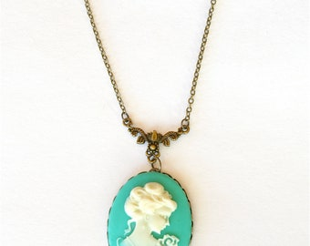 Cameo Necklace, Victorian Lady Cameo, Teal Green Cameo