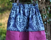 SALE, Blue Fuschia Double Layer Toddler Skirt Toddler Size 4T Ready to Ship, Now 20 Dollars