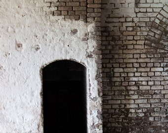 Brick Wall, Empty, Arched Doorway, Architectural Photography, Wall Decor, Black White
