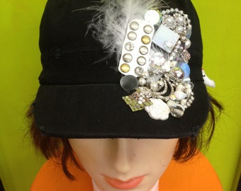 Embellished Black Newsboy Cap Women Hat with Crystals, Pearls, & Rhinestones