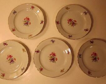 5 Bavarian Cake Plates Vintage German Porcelain Set of Five