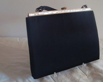 Black Lester Handbag - Vintage Matte Satin Purse with Mother of Pearl -Trip and Snap Clasp plus Coin Purse