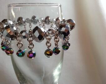 Sparkly Dangle Crystal Bracelet sliver multi-colored, high fashion, handmade