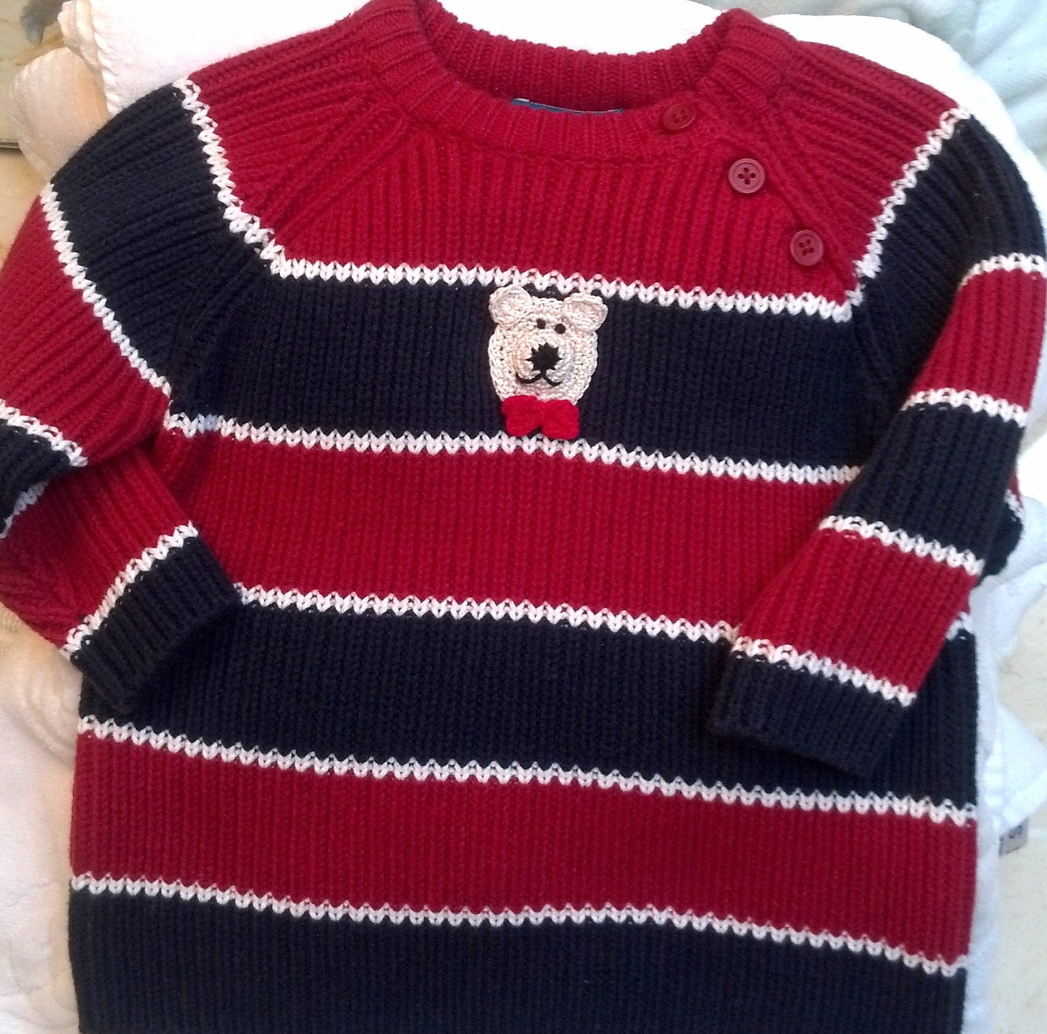 Boys Toddler Red Blue Striped Sweater Handmade Bear or Puppy