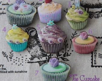 Colorful Sweets Cupcakes Brooches Wood: Choose One.