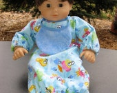 "Bitty Baby, Bitty Twin Bunting or Pajamas - 15"" doll Bunting or Pajamas"