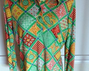 SALE 70's Disco Patchwork Shirt Sz.S/M
