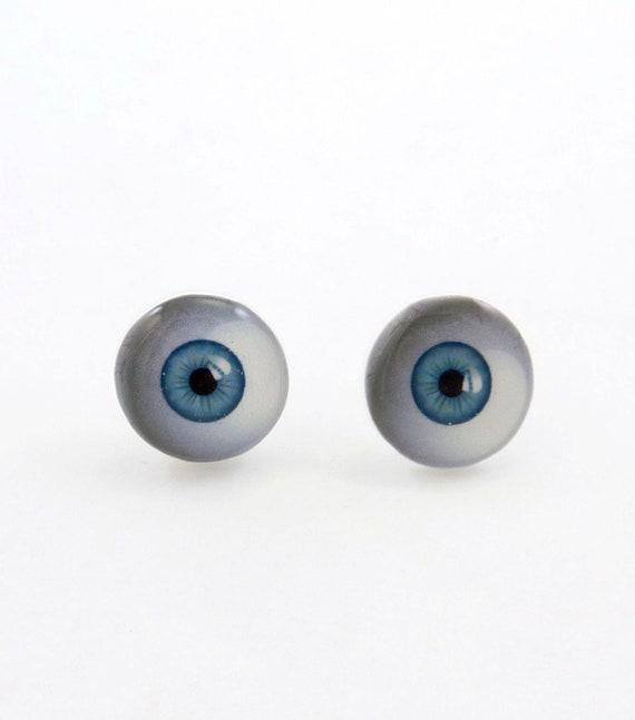 Blue Eyeball Earrings.  Resin Post Eye Earrings.