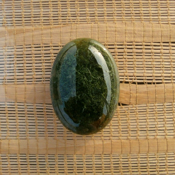 Green Forest,Moss Agate Cabochon,Oval,Semiprecious stone, Jewelry making Supplies,Small , 25x18mm