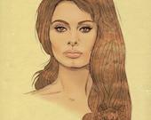 SOPHIA LOREN Portrait Poster Print - Fashion Illustration - Original Pencil Drawing - 1960s Fashion - Yellow - Green