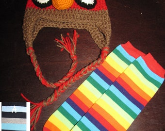BIRDS SET - Crochet hat and leg warmers set - Angry Birds inspired