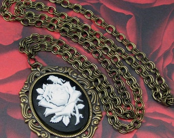 Victorian White Rose Cameo on 30 Inch Antiqued Brass Chain, Cameo Necklace, Steampunk Cameo Pendant, Steampunk Jewelry, Victorian Pendant