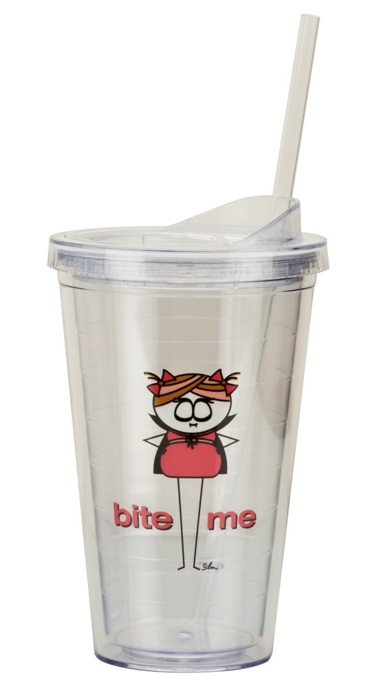 """Littles """"Bite Me"""" 16 oz. Clear Acrylic Double-Walled Tumbler/Cup - BPA Free"""