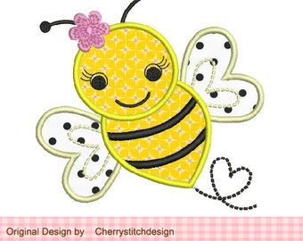 Bumble Bee Machine Embroidery Applique Design-approximate 4x4 5x5 6x6 inch