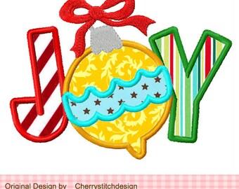 "Christmas JOY Christmas Ornament Embroidery Applique - 4x4 5x5 6x6"""
