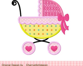 Baby Carriage Machine Embroidery Applique Design -4x4 5x5 6x6""