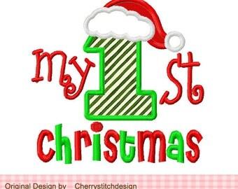 "My 1st Christmas Machine Embroidery Applique Design- 4x4 5x5 6x6"""