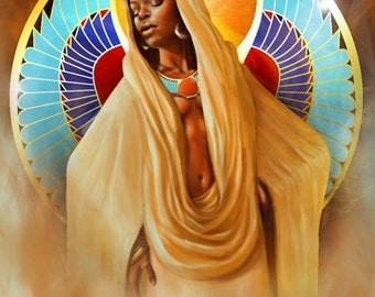 Kemetic Egyptian African American Art Black Goddess Maat Auset Isis Metu Neter Spiritual Sacred Cosmic Afrofuturism Fantasy Painting