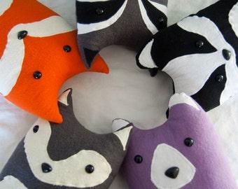 Three Woodland Plush Pillows - Your Choice - Fox, Badger, Wolf, Bear, Raccoon - FREE U.S. SHIPPING