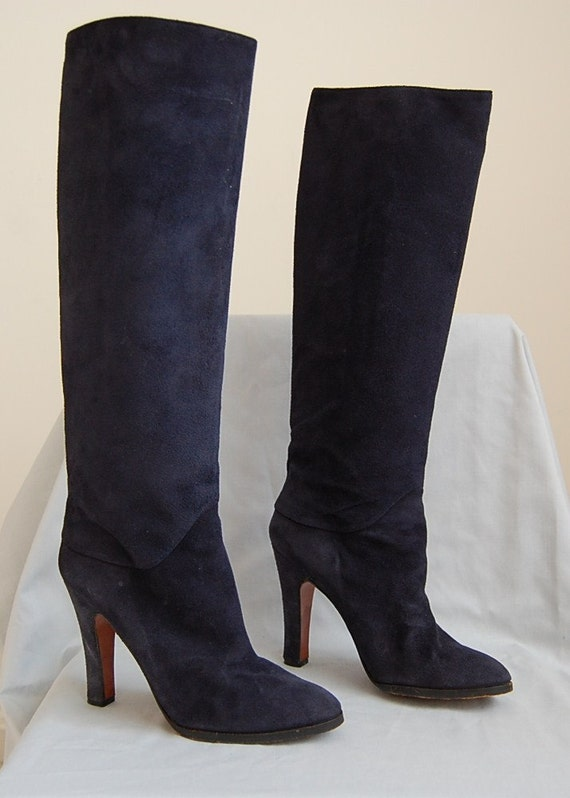 the navy blue suede high heel boots 1980s boots size 7