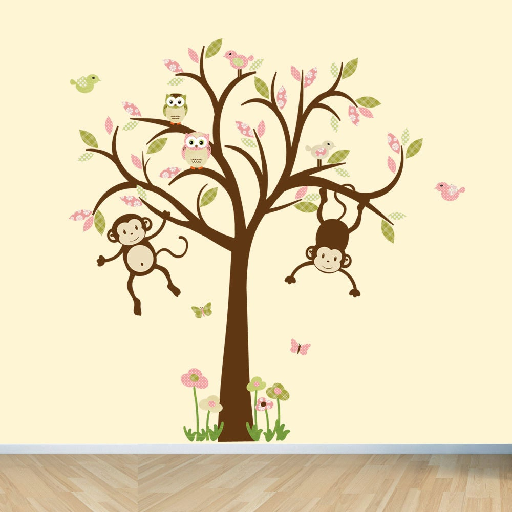 monkey wall decals nursery wall decals girl tree wall decal. Black Bedroom Furniture Sets. Home Design Ideas
