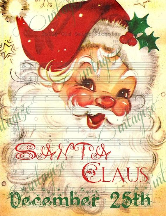 items similar to santa printable jolly st nick vintage