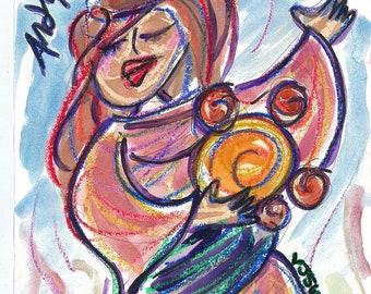 Passover, Pesach, Miriam, biblical art, Jewish Artwork, Judaica Art, Miriam the Prophet, Bible Art, Torah, Jewish women seder gift, Print