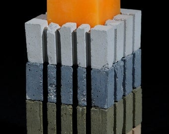 Cement Candle Holder, Earth Colors, Puzzle