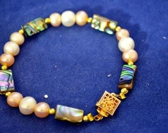 Pearl and Paua Bracelet B68
