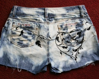 Hand painted, bleached, upcycled  denim shorts.