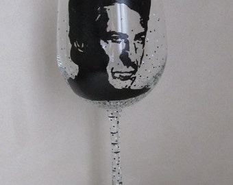 Hand Painted Wine Glass - DUSTIN HOFFMAN, Actor