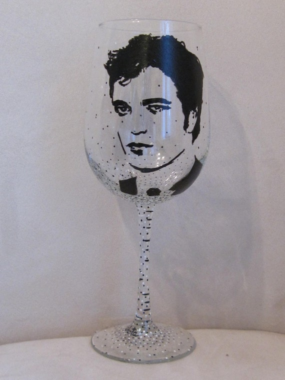 Hand Painted Wine Glass - ROBERT PATTINSON, Actor, Model, Musician
