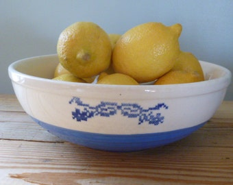 Bowl Mixing, Blue White, Vintage