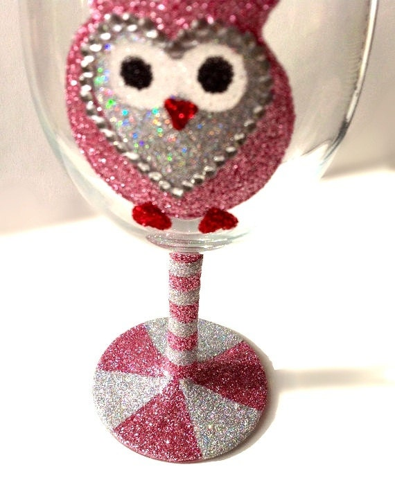 Glitter owl wine glass How to make wine glasses sparkle