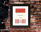 "Book Clubs: ""Southampton"" A4 Football Print in red, black and white."