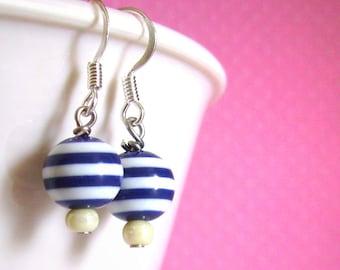 Blue Striped Bead Earrings, Kawaii Decora Fairy Kei Jewelry for Women Girls and Teens