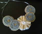 Gold and Gray Flower Statement Necklace - Accessory - Jewelry