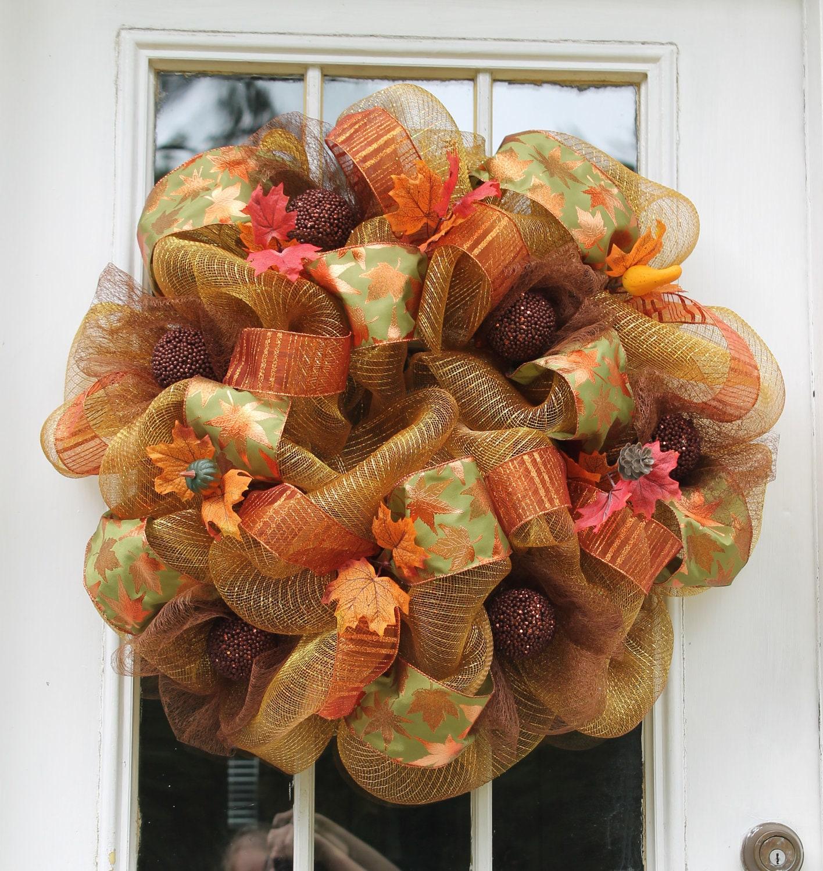 Fall Mesh Wreath/Gold Orange Green Brown By WreathsandThingsLK